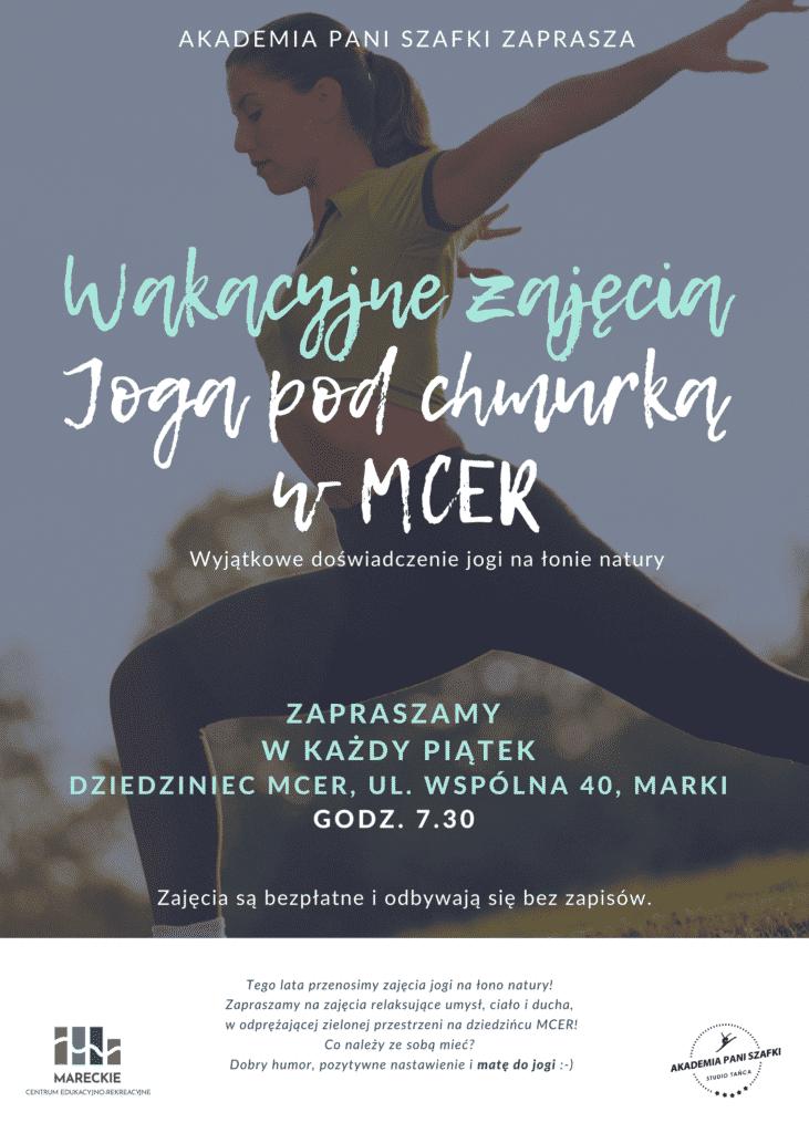 Joga w MCER plakat wakacje 2021