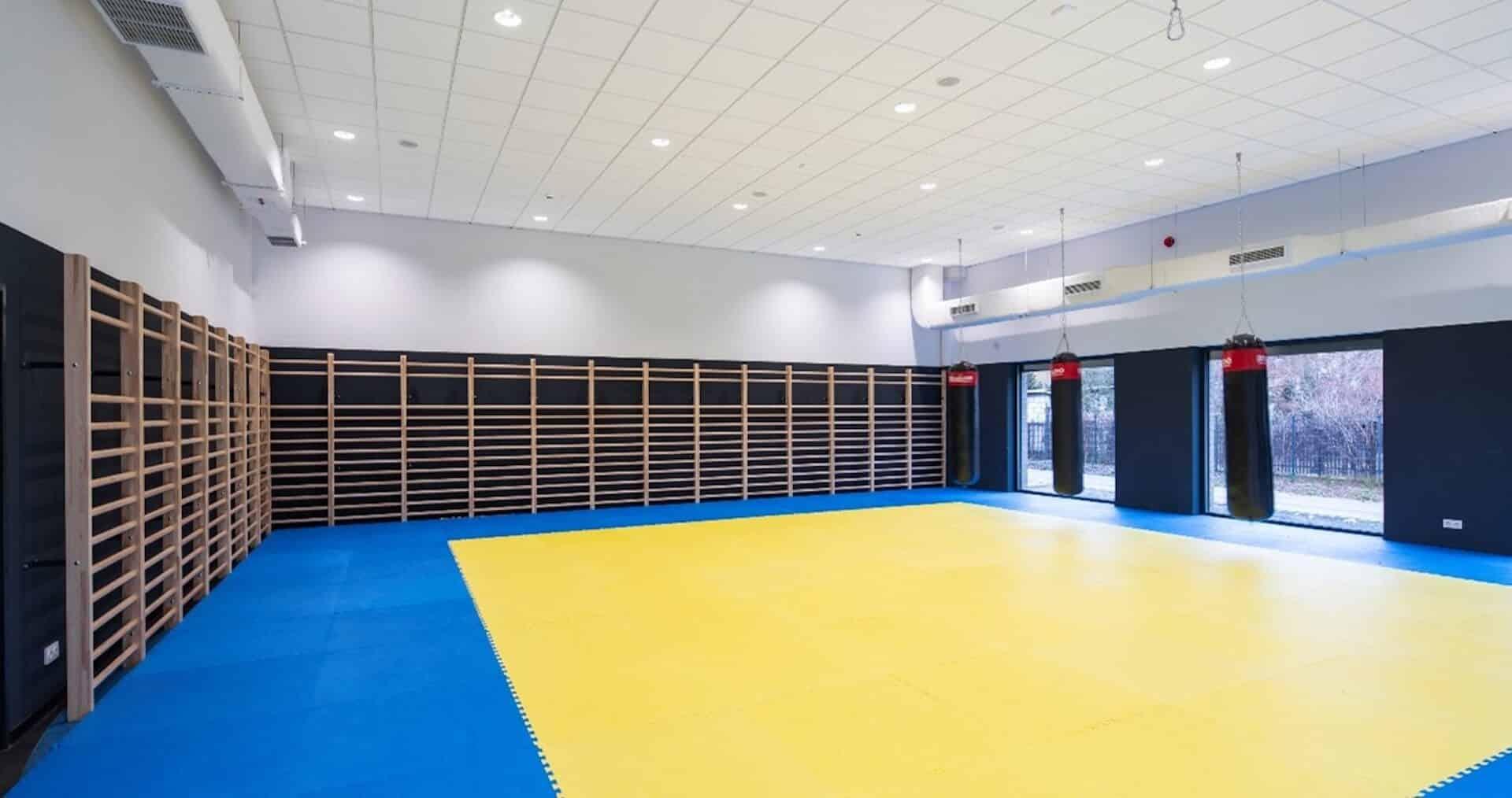 Widok na salę gimnastyczną, w której są zajęcia sportowe dla dzieci i dorosłych
