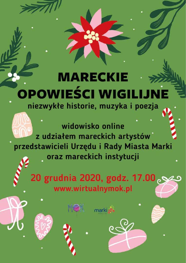 """plakat wydarzenia online """"Mareckie opowieści wigilijne"""""""